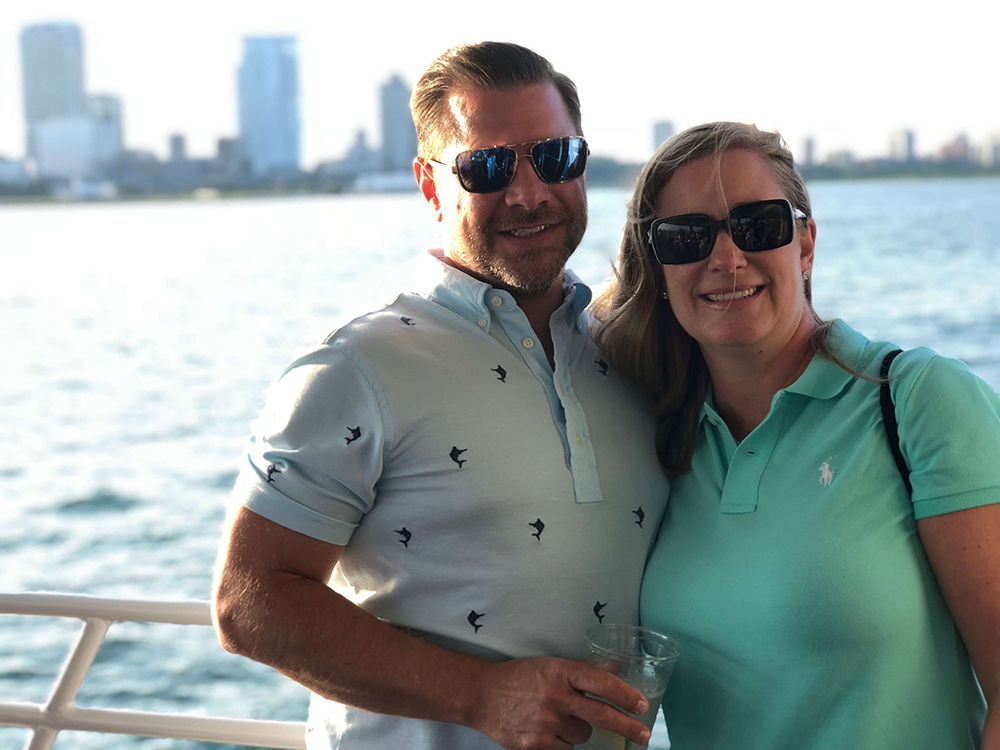 Brent and Kelly Seward on the water overviewing the river in Milwaukee